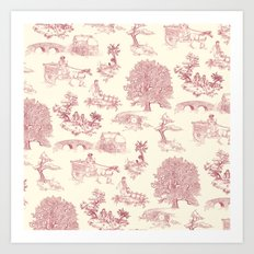 Shire Toile - Red Art Print