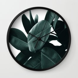 Dark Green Rubber Plant Wall Clock