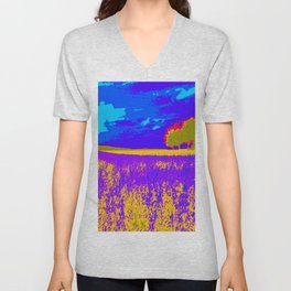 Lilac meadow of Provence Unisex V-Neck