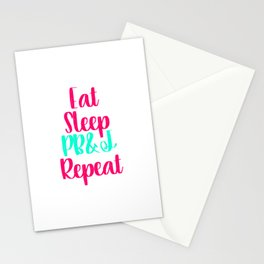 Eat Sleep Peanut Butter and Jelly Funny Quote Stationery Cards