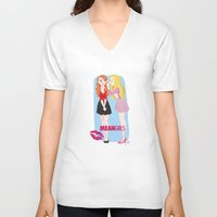 mean girls V-neck T-shirts featuring Mean Girls by Cerys Edwards