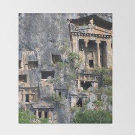 Rock Tombs Photograph Fethiye Throw Blanket