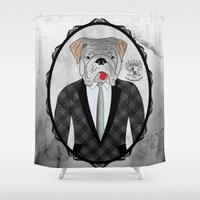 english bulldog Shower Curtains featuring Mr. Dandy - English Bulldog by Rozenblyum Couture