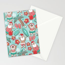 Mele Kalikimaka Hawaiian Christmas gingerbread cookies // aqua background Stationery Cards
