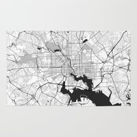 baltimore Area & Throw Rugs featuring Baltimore Map Gray by City Art Posters