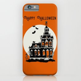 Vintage Style Haunted House - Happy Halloween iPhone Case