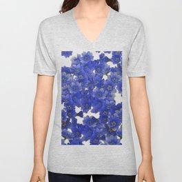 Little Blue Flowers on White Unisex V-Neck