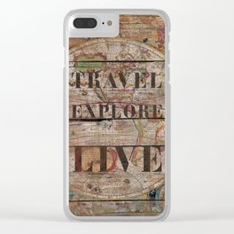 Travel Explore Live (Old Map) Clear iPhone Case
