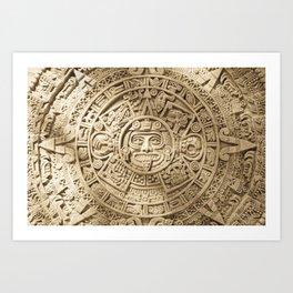 AZTEC CALENDAR MEXICO ART Art Print