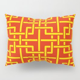 Tangled squares Chinoiserie in Chinese flag's colors Pillow Sham