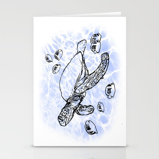 Sea Turtle with raccoon butterflyfish Stationery Cards