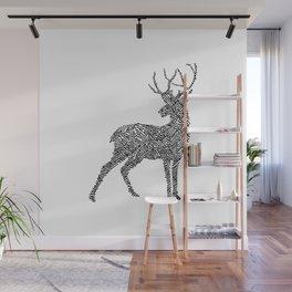 Deer in Mountain Lines Wall Mural