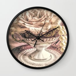 Rose Pearls Teacup Still Life Modern Cottage Chic Decor Art Matted Picture A466 Wall Clock