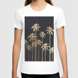Glamorous Gold Tropical Palm Trees on Black T-shirt