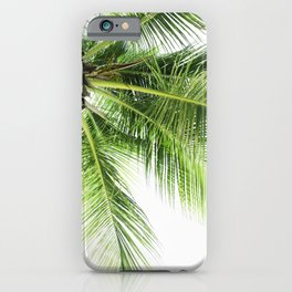 Green palm tree on white background, tropical travel art print, Curacao, Caribbean Islands iPhone Case