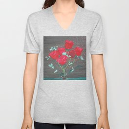 Abstract water color rozes Unisex V-Neck