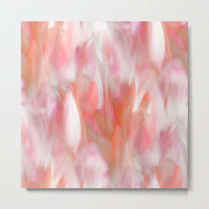 Pink Tulips Abstract Nature Spring Atmosphere Metal Print