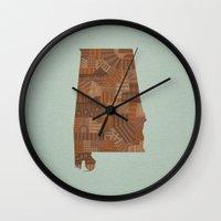 alabama Wall Clocks featuring Alabama by MattBlanksArt