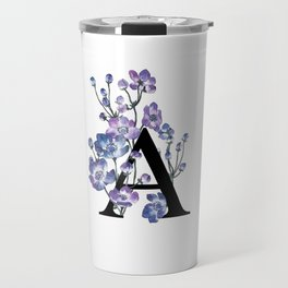 Letter 'A' Anemone Flower Typography Travel Mug