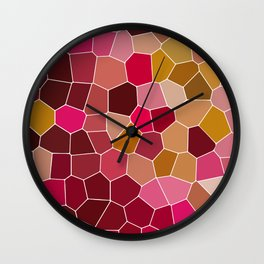 Hexagon Abstract Pink_Olive Wall Clock