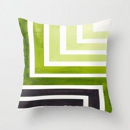 Sap Green Mid Century Modern Watercolor Colorful Ancient Aztec Art Pattern Minimalist Geometric Patt Throw Pillow