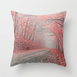 Misty Forest Road - Tickle Me Pink Throw Pillow
