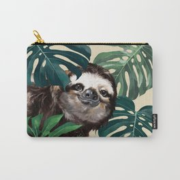 Sneaky Sloth with Monstera Carry-All Pouch