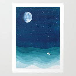 Moon Phase, teal watercolor Art Print