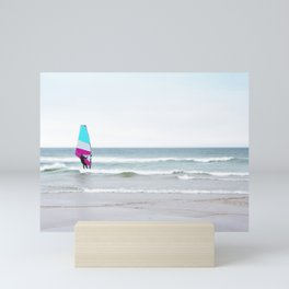Windsurfer with Aqua and Magenta Mini Art Print