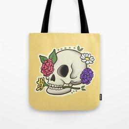Flowery Skull Tote Bag