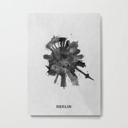 Berlin, Germany (Deutschland) Black and White Skyround / Skyline Watercolor Painting Metal Print