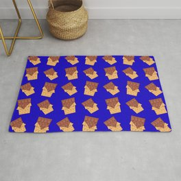 Funny sweet delicious yummy chocolate bars in golden wrappers cartoon blue retro pattern Rug