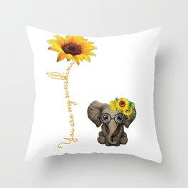 You Are My Sunshine Hippie Sunflower Elephant Throw Pillow