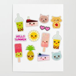 Hello Summer. Pineapple, cherry smoothie cup, ice cream, sun, cat, cake, hamster. Kawaii cute face. Poster
