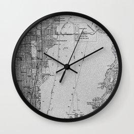 14-Miami Florida 1950 old vintage gray map Wall Clock
