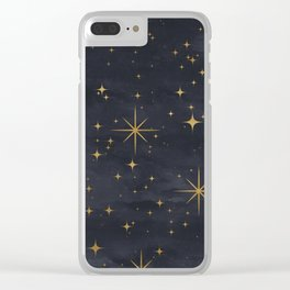 Seamless Pattern Night Sky Gold Stars Magical Mystical Pattern Clear iPhone Case
