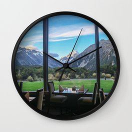 Dinner by the Mountains Wall Clock