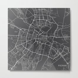 Poznan Map, Poland - Gray Metal Print