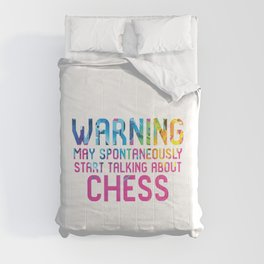 Warning May Spontaneously Start Talking About Chess King Comforters