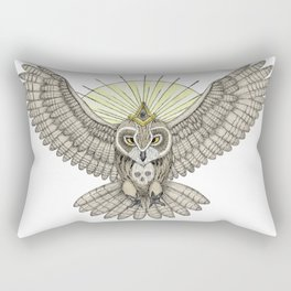Mason Owl with skull, rule, compass and the eye that sees everything (tattoo style - color version) Rectangular Pillow