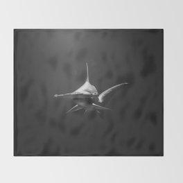 Hammerhead Shark (Black and White) Throw Blanket