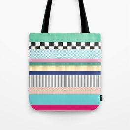 Stripes Mixed Print and Pattern with Color blocking Tote Bag