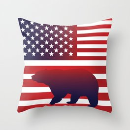 American flag Bear California Throw Pillow