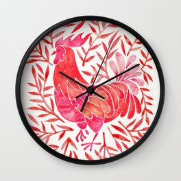 Le Coq – Watercolor Rooster with Red Leaves Wall Clock