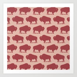 Buffalo Bison Pattern Dusty Rose and Burgundy Art Print