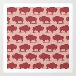 Buffalo Bison Pattern Dusty Rose and Burgundy Art Print