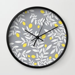 Lemon Pattern - Gray, White & Yellow  Wall Clock