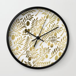 Gold Olive Branches Wall Clock