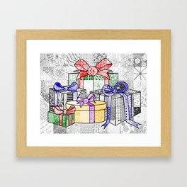 Coloured Christmas Presents Framed Art Print