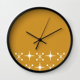Space Age - Midcentury Modern Cuff Pattern in White on Mustard Gold Wall Clock